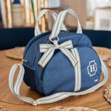 Bolsa grande azul linho com fita bege