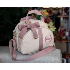 Bolsa G bege dexter com fita glam rose