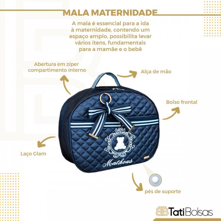 JOGO DE MATERNIDADE GLAM (Frasqueira Bella + Mala de Maternidade) AZUL COM FITA GLAM AZUL COM BRANCO