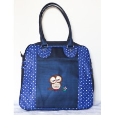 BOLSA PROFESSOR MARRY AZUL FACTOR COM ESTAMPA DE BOLINHAS