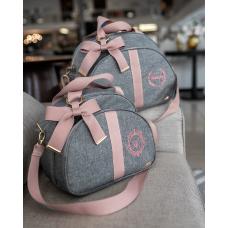 Bolsa P e Bolsa G linho cinza com rosê