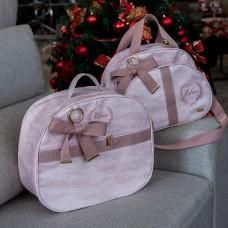 Mala de maternidade e bolsa g linho rose com fita glam rose claro